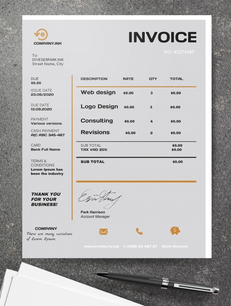 Free Business Style Invoice Template In Google Docs