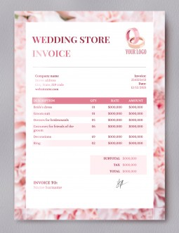 Wedding Store Invoice